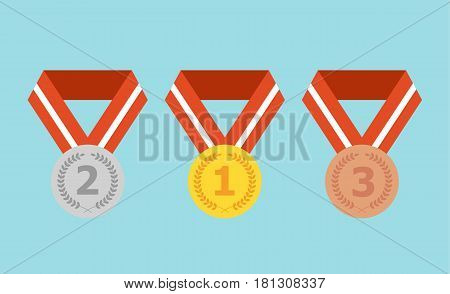 Set of gold, silver and bronze flat medals. Vector stock.