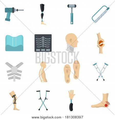 Orthopedics prosthetics icons set in flat style isolated vector illustration