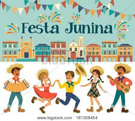 Festa Junina - Brazil June Festival. Folklore Holiday. Characters. Vector Illustration.