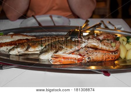 marine platter of sea bass , shrimp, seafood grilled with olive oil with boiled potatoes on a silver tray