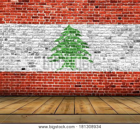 Lebanon flag painted on brick wall with wooden floor