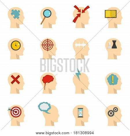 Head logos icons set in flat style isolated vector illustration