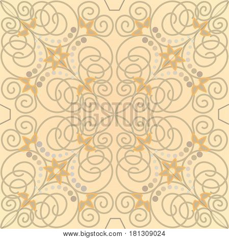 Vintage beige ornamental tile with old style patterns