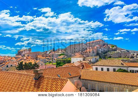 Colorful scenic view at medieval old city Dubrovnik in Europe, famous touristic and historic resort.