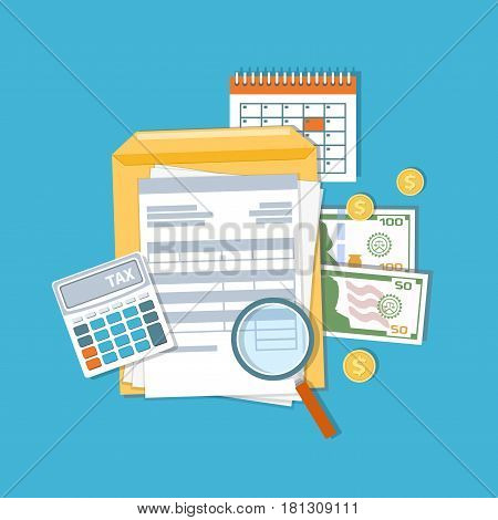 Payment of tax and accounts concept. Financial calendar, money, cash, gold coins, calculator, magnifying glass invoices, bills. Payday icon. Vector illustration poster