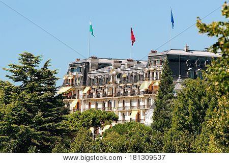 Beau Rivage Palace Hotel At Lake Geneva Promenade In Lausanne