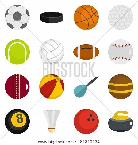 Sport balls icons set in flat style isolated vector illustration