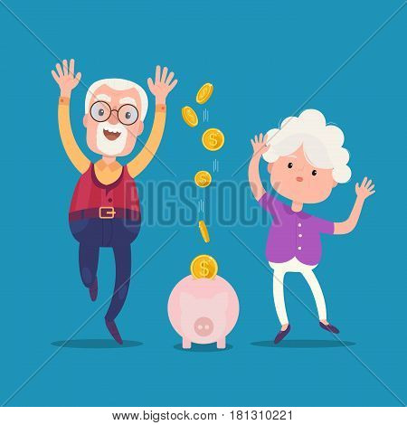 Senior people with golden piggy bank. Grandparents keep their savings in the piggy bank. Pension concept.