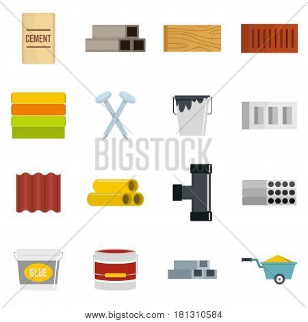 Building materials icons set in flat style isolated vector illustration