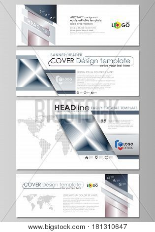 Social media and email headers set, modern banners. Business templates. Easy editable abstract design template, vector layouts in popular sizes. Simple monochrome geometric pattern. Abstract polygonal style, stylish modern background.