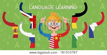 Girl with glasses and T-shirts of different nationalities. Language learning concept. Vector illustration of cartoon character and different languages: english, french, spanish, german, italian, russian