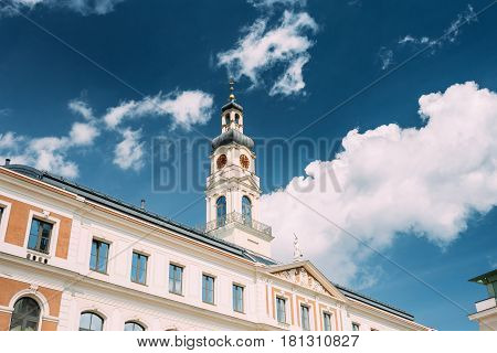 Riga, Latvia. Clock Tower OF Famous Landmark - Old Riga City Hall In Sunny Summer Day.