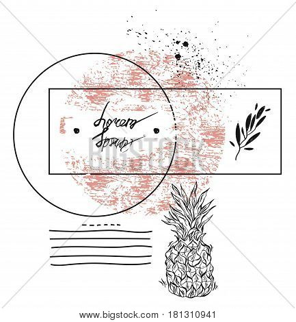 Hand drawn vector abstract textured geometric minimalism pineapple card template in pastelwhite and black colors isolated on white.Minimal design.Minimalistic background