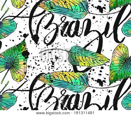 Hand drawn vector textured ink lettering with Brazil wordink splash and exotic tropical palm leafs seamless pattern isolated on white background.