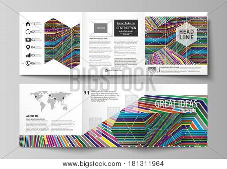 Set of business templates for tri fold square design brochures. Leaflet cover, abstract flat layout, easy editable vector. Bright color lines, colorful style with geometric shapes forming beautiful minimalist background.