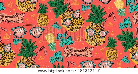 Cute bright seamless vector pineapple pattern with pink sunglasses, water splashes and juice straw on coral background. Vector tropical bright summer illustration of fruit pineapple.