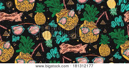Cute bright seamless vector pineapple pattern with pink sunglasses, water splashes and juice straw on black background. Vector tropical bright summer illustration of fruit pineapple.