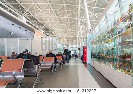 Moscow, Russia - March 29.2017. Departure hall of the airport in Kazan, Republic of Tatarstan