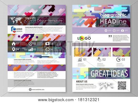 Blog graphic business templates. Page website design template, easy editable abstract vector layout. Bright color lines and dots, colorful minimalist backdrop with geometric shapes forming beautiful minimalistic background.