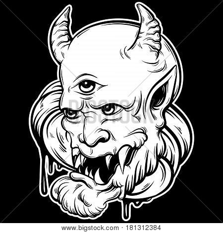 Vector hand drawn illustration of devil. Tattoo hand sketched artwork. Template for card poster banner print for t-shirt.