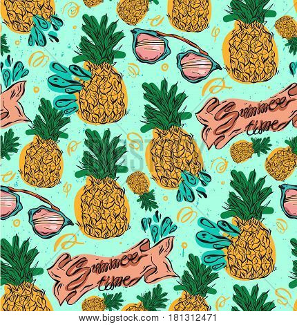 Hand drawn vector seamless pattern with pineapples in yellow and green colors on mint background.Vector tropical bright summer illustration of fruit pineapple.