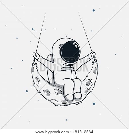 Spaceman sits on the crescent moon .Childish vector illustration