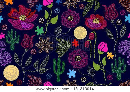 Stylized hand drawn elements. 1950s-1960s motifs. Retro textile design collection. Colorful on dark.