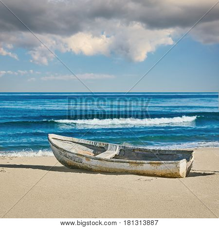 Old Boat on the Shore of Black Sea