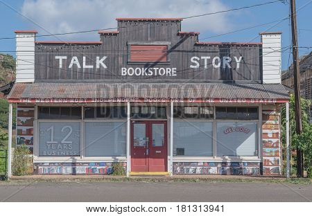 Talk Story: Talk Story Bookstore in an old building, in the historic Hanapepe Town, Kauai, Hawaii, mid morning, March 28, 2017