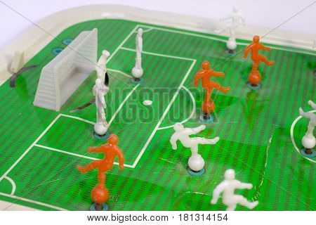 Table Football. A Little-known Variant Of A Favourite Game. A Fragment Of The Playing Field Near The
