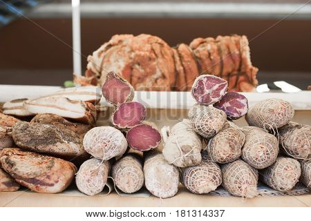 Mixed Different Cured Meats On Shelf