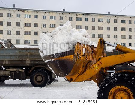 Murmansk Russia - March 14 2017: Snow cleaning with special vehicles