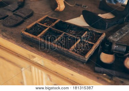 Interior With Attributes Of An Old-fashioned Shoemaker.
