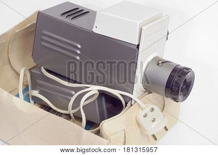 Old Slide Projector In A Box. Close-up