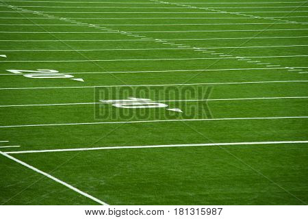 Close up on football pitch - yards