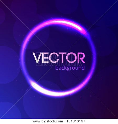 Abstract bright light circle template, shine banner on colorful bokeh background with glitter, energy ring vector editable illustration.