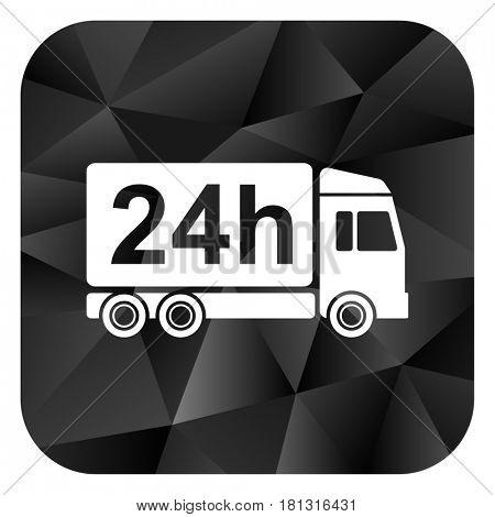 Delivery black color web modern brillant design square internet icon on white background.