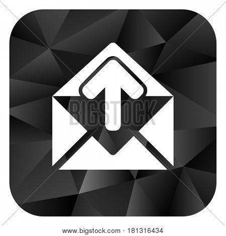 Email black color web modern brillant design square internet icon on white background.