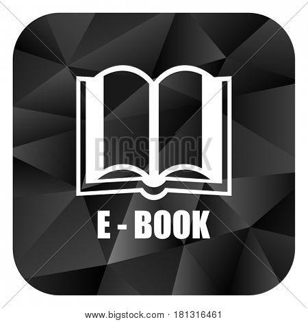 Book black color web modern brillant design square internet icon on white background.