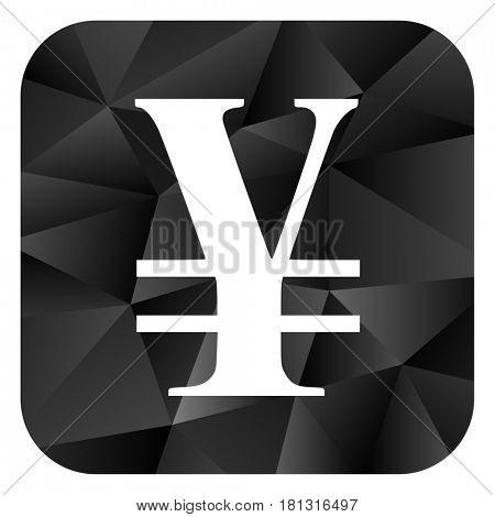 Yen black color web modern brillant design square internet icon on white background.