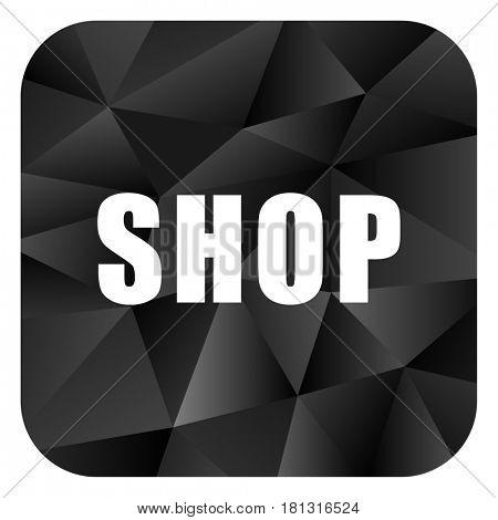 Shop black color web modern brillant design square internet icon on white background.