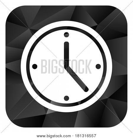 Time black color web modern brillant design square internet icon on white background.