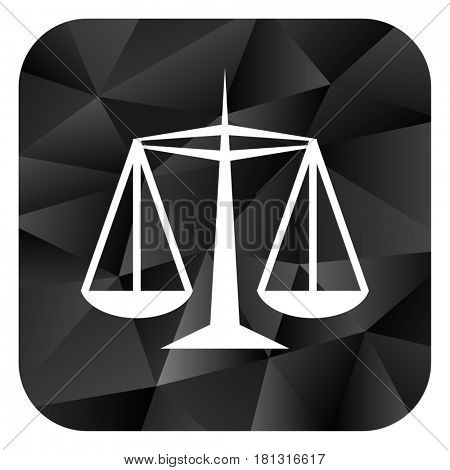 Justice black color web modern brillant design square internet icon on white background.