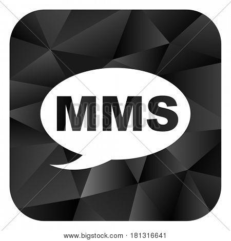 Mms black color web modern brillant design square internet icon on white background.