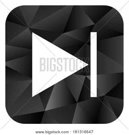 Next black color web modern brillant design square internet icon on white background.