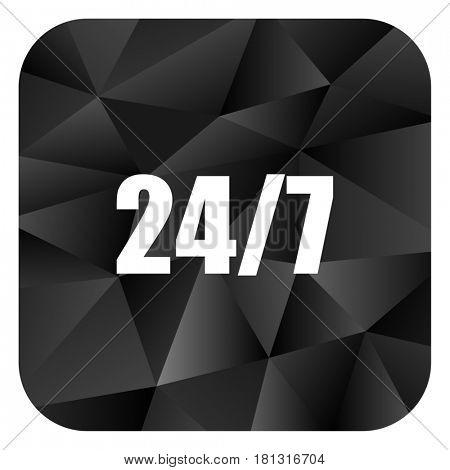 24/7 black color web modern brillant design square internet icon on white background.