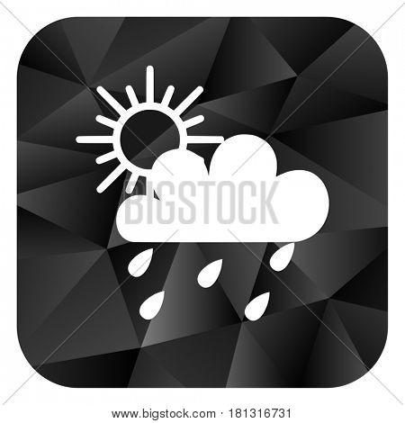 Rain black color web modern brillant design square internet icon on white background.