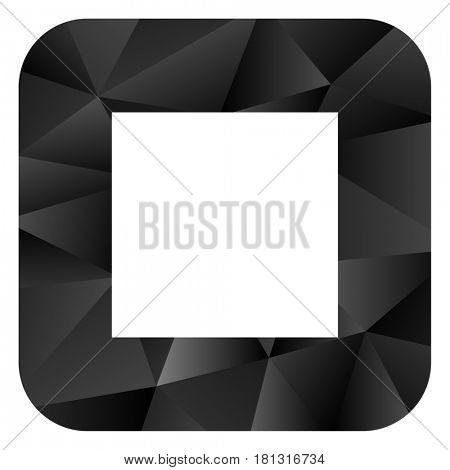 Stop black color web modern brillant design square internet icon on white background.