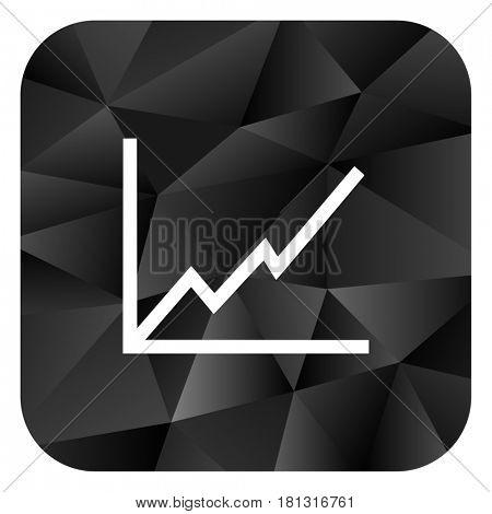 Chart black color web modern brillant design square internet icon on white background.