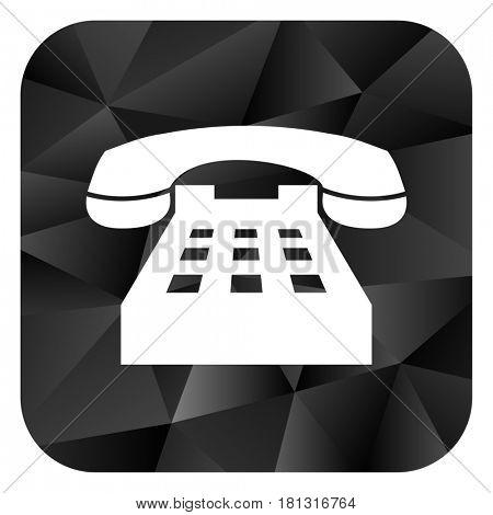 Phone black color web modern brillant design square internet icon on white background.